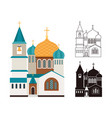 christian churches flat and linear icons set vector image
