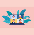 collective virtual meeting on a computer screen vector image