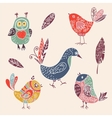 Color vintage cute cartoon birds doodle set vector image