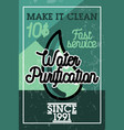 color vintage water purification banner vector image vector image