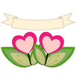 colorful heart plants under ribbon with place for vector image vector image