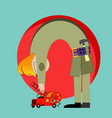 creative drawing of a fireman vector image
