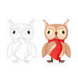 cute brown owl with big eyes cartoon character vector image vector image