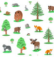 cute forest animals seamless background pattern vector image vector image