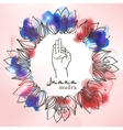 Element yoga jnana mudra hands with mehendi vector image vector image
