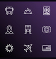 exploration icons line style set with bank card vector image vector image
