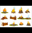 fireplace wooden light flame burned bonfire with vector image vector image