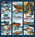 fishing banner with fishing equipment and fish vector image vector image