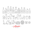 Flat alcohol icons vector image