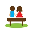 Flat web icon on white background man woman bench vector image vector image