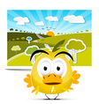Funny Yellow Chicken on Field Landscape Picture vector image vector image