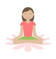 Girl Sitting in Yoga Lotus Position vector image