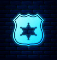 glowing neon police badge icon isolated on brick vector image vector image