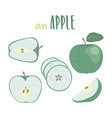 green apple hand drawn set isolated vector image