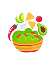 guacamole - a dish national mexican cuisine vector image vector image