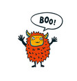 halloween monster cute fluffy monster with boo vector image
