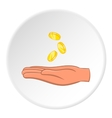 Hand holding coins icon cartoon style vector image vector image