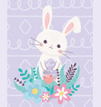happy easter rabbit decorative egg with flowers vector image
