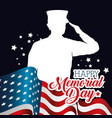 happy memorial day card with soldier silhuette vector image vector image