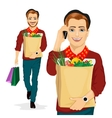 hipster man carrying grocery paper bag vector image vector image
