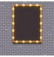 Light bulb frame on brick wall vector image vector image