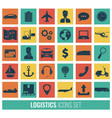 logistics icons set delivery and transportation vector image vector image