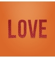 Love red paper Type on orange Background vector image