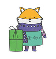 merry christmas fox with warm clothes and gift box vector image vector image