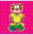 Monkey in dress on bright background vector image vector image