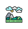 mountains and hills landscape flat color line icon vector image vector image