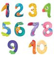 Numbers like birds in fairy style vector image vector image