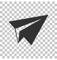 Paper airplane sign Dark gray icon on transparent vector image vector image