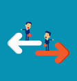 person pointing to different direction business vector image
