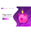 piggy bank cash economy coins banner web site vector image