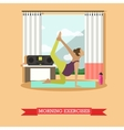 Pregnant girl doing morning exercises flat design vector image