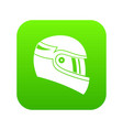 racing helmet icon digital green vector image
