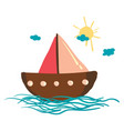sailing boat under bright sunny sky or color vector image vector image