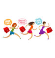 sale outlet concept girls run to the mall for vector image vector image
