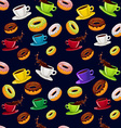 seamless pattern donuts and coffee vector image vector image