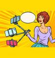 selfie stick woman vector image vector image