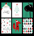 set funny christmas cards vector image vector image