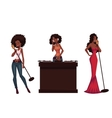 Set of beautiful African women singers and dj vector image vector image