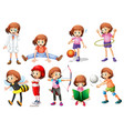set of girl activity vector image