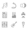 sound producing icons set outline style vector image vector image