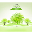 Summer background with green trees vector image vector image