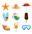 summer odjects isolate realistic icons summer vector image vector image