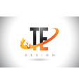 te t e letter logo with fire flames design and vector image vector image