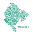 textured map of montenegro hand drawn ethno vector image vector image