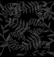 tile tropical pattern with leaves on black vector image