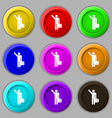 tourist icon sign symbol on nine round colourful vector image vector image